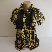 Chemisette blouse jaune noir taille S cravate bretelle déguisement unisexe N6429