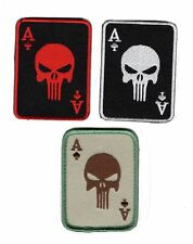 PUNISHER INFIDEL ACE SPADE DEAD MAN  HAND TACTICAL COMBAT 3PC HOOK PATCH