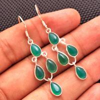 Handmade Dangle Earrings Green Onyx Gemstone Solid 925 Sterling Silver Jewelry