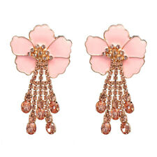 US SELLER SHIP FROM NYC large light pink floral dangling gem FASHION Earrings