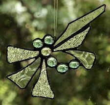 CRYSTAL DRAGONFLY Hand Made Crafted Art REAL Stained Glass Leadlight SUNCATCHER