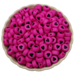 100PCS 7mm Acrylic bead Solid color Loose Spacer Beads Heart Shape DIY Fingdings