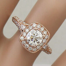 Moissanite Diamond Engagement Ring Bands 1.95ct 14k Rose Gold Round Forever One