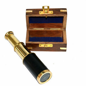 Antique vintage brass maritime black leather telescope with wooden box good inch