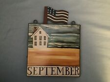 RARE Nancy Thomas Folk Art September Plaque 8in X 8in Square