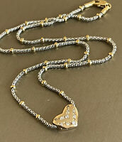 """18ct Yellow white Gold Diamond Heart Necklace 0.20ct Chain Two tone beaded 16"""""""