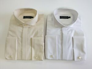 MALE DOUBLE CUFF WING COLLAR DRESS SHIRT- WHITE AND CREAM
