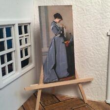 Miniature Dollhouse Room Box Wall Blue Dress Classic Handmade