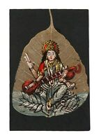 Global Art Hindu Goddess Saraswati ji Handmade Painting Peepal Leaf i54-108 US