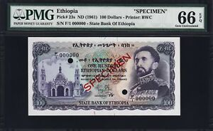 ETHIOPIA 100 DOLLARS 1961, SPECIMEN 000000, PMG 66 GEM UNCIRCULATED, EPQ, P-23s