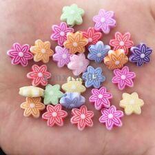 DIY 40PCS 10mm mix acrylic Flower stone bead rainbow Children handmade beaded