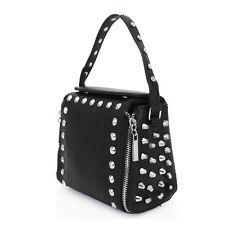 New Ladies Studded Black Zipper Tote Grab Handbag Women Chain Shoulder Bag 1016