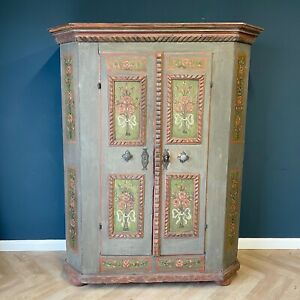 Antique Folk Marriage Cabinet French Alsace Painted Wardrobe Cabinets Dated 1817