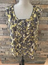 NWOT Talbots Silk Top Laser Cut Detail - Abstract Print - Gray & Yellow Size 10