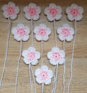 10 Pink & White Crochet  Flowers Granny Squares Blankets Cushions  2 inchez