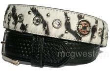 3D Western Mens Belt Leather Zebra Weave Crystals Hair Studs Black 1810 Sz 38