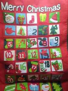 """Vintage Christmas Fabric Felt Advent Calendar 24"""" by 35"""" Holiday"""