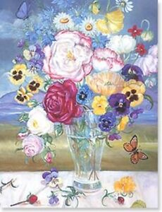 LEANIN TREE Flowers in Vase with Butterfly~Pack of 8 Notecards #35982~Blank~