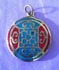 Om Mani Padne Hum Brass turq Mandala Sacred Geometry pendant , Buddhist Tibetan