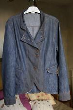 veste jean denim et tissu rayures gris JAQUELINE RIU taille 4 (42)