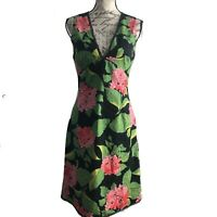 Helen Wang New York Cotton Black Floral Lined Lace Trim Dress Made In USA Size 8