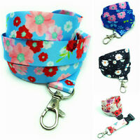 With safety clip Lanyard Flowers neck strap for ID Card Badge Holder key Spirius