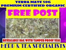 YERBA MATE 50G☆ PREMIUM CERTIFIED ORGANIC Ilex paraguariensis TEA ☆ FREE POST☆