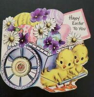 Vtg Hallmark 1950s Easter Greeting Card Diecut Pastel Eggs Cart Pulled by Chicks