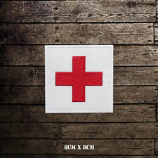 Red Cross Flag Embroidered Iron On Sew Patch Badge