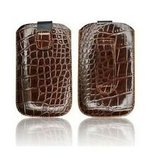Housse Etui Pochette Croco Apple Iphone 4 4S Marron Brown Case