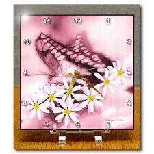"""On Sale! 3dRose dc_11749_1 Desk Clock 6"""" x 6"""" Butterfly Flowers Pink -D1506 Am18"""