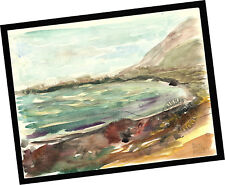 Rincon Coast Ventura 2014 Contemporary Art Watercolor PAINTING SIGNED seascape