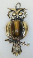 Large Vintage Estate Jewelry Gold Tone Owl Pendant Cabochon Tiger Eye Stone