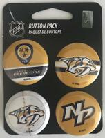 "(HCW) Nashville Predators Wincraft NHL Button 4 Pack 1.25"" Round Licensed"