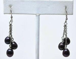 Sterling Silver & Black Pearl Cluster Earrings