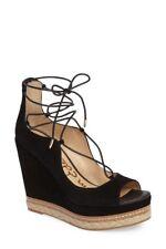 Sam Edelman Harriet Peep-Toe Lace-Up Wedge Suede Sandals NWOB US 11M Black