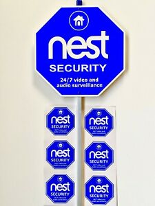 NEST SECURITY yard sign With 6 Stickers for doors and   windows.