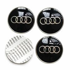 4 x 65mm Centre Cap STICKERS ONLY For Audi Hub Wheel Cap Sticker Black