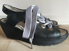 Women's Fly London Black Leather Lace-up Slingback Wedge Sandals Sz 37/ USA 7