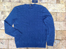 $398 Polo Ralph Lauren Cable-Knit Cashmere Sweater, Blue Heather, 2XL.