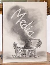 Original Charcoal Drawing MEDIA Cartoon Lee Lorenz 1970 New Yorker -PANDORAs Box
