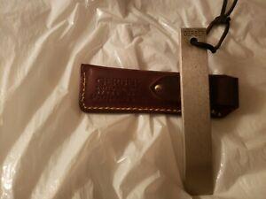 "Vintage Gerber Sportsman's 5"" Steel Sharpening Hone with Original Leather Sheath"
