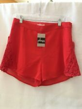 "A15 I. JOAH Red Skort Lined Lace Accents 30"" Waistband Side Zipper Size Large"