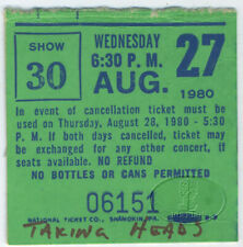 Talking Heads 1980 Psycho Killer Tour Concert Ticket Stub Wollman Rink