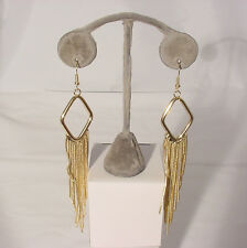 Diamond Shaped Hoop #210-A/14 Gold Dangling Earrings With