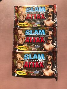 3x Sealed Packs Topps Slam Attax Trading Cards. RAW, Smack down & ECW Wrestling