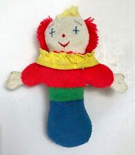 "Eden Toys Clown Rattle Plush Terry Cloth 6.5"" Vintage 1989 Collectible"