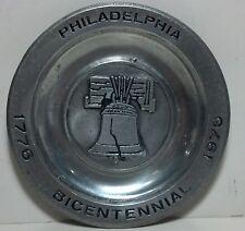 Pewter 1776 - 1976 Philadelphia Bicentennial Liberty bell plate