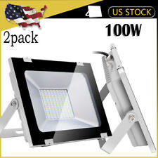 2X 100W Watt LED Flood Light 110V Bright White Outdoor Security Work Spotlights
