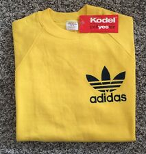 Vintage 70's Dead Stock ADIDAS Yellow Sweat Shirt Made In USA.